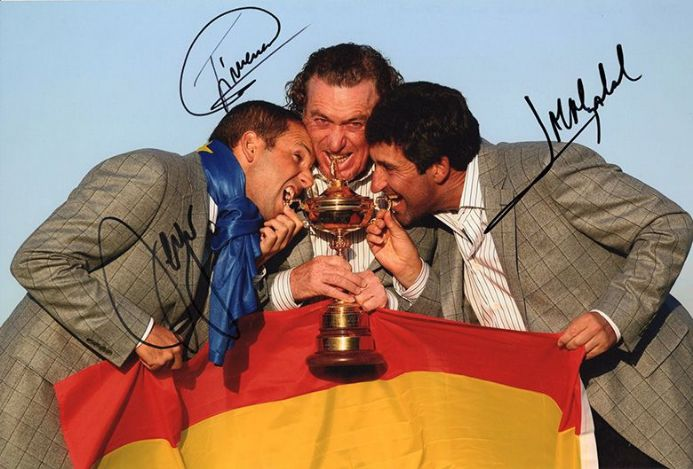 Garcia, Jimenez & Olazabal, Ryder Cup 2010, signed 12x8 inch photo.